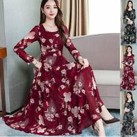 Fashion Casual Women's O-Neck Long Sleeve Long Dress Printed Slim A-Line Dress