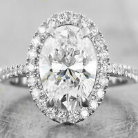 2.50Ct Oval-Cut Delicated Diamond Halo Engagement Ring 14k White Gold Over