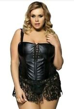 Bustier Black PU Leather and Lace Corset 5XL fits 16W 18W 20W