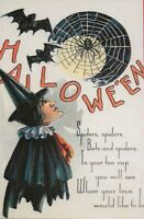 """A Witch watching a Spider Weaving a Web""  Bat Moon Hallowe'en  Postcard - 1198"