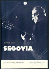 1962 Andres Segovia photo guitar recital tour booking trade print ad