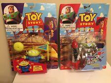 "RARE Disney Pixar Toy Story 6"" CHROME Flying Rocket BUZZ LIGHTYEAR & ALIEN"