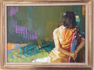 Nicola Simbari Original Ölgemälde Interior in Yellow 81 x 60 cm  gerahmt 95 x 75