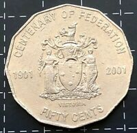 2001 AUSTRALIAN 50 CENT COIN CENTENARY OF FEDERATION - VICTORIA - VIC