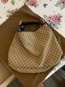 Gucci Monog Horsebit Hobo Shoulder Handbag Brown Canvas XL Gold Toned Hardware