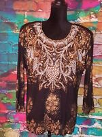 Bali Chic Women's Heavy Embellished Beaded Top One Size Black Gold 3/4 Sleeves