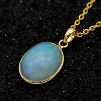 4.35 CT Natural Opal Oval Cabochon Pendant 18kt Yellow Gold Necklace Free Chain