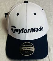 Taylormade Performance Cage Golf Hat Fitted Mens Ball Cap White Navy Blue New