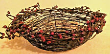 Metal Wire Twig Look Basket Bowl Accented With Red Berries