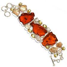 "Plated Cluster Bracelet 8.4"" Mm-39757 Amber Citrine 925 Sil 00006000 Ver"