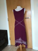 Ladies Dress Size 14 PEARCE FIONDA Wine Red Midi Chiffon Party Evening