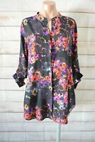 Sussan Button Front Shirt Blouse Size 10 Purple Pink Red Floral Long Sleeve