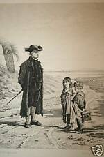 Antique Print, Schoolmaster & Children, Great Teacher GIFT!