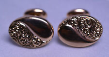 ANTIQUE 10K YELLOW GOLD CUFFLINKS WITH FANCY EMBOSSED DESIGN