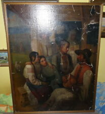 Romanian 19th C. O/C Large Beautiful Painting , Signed?