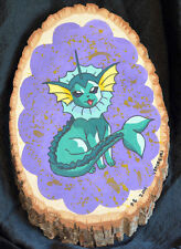 Hand-Made Unique POKEMON Fan Art Painting Log Slice VAPOREON 11 X 7 1/2 X 1 inch