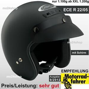 ROCC CLASSIC Jethelm mit Schirm Retro Motorradhelm Rollerhelm Helm offen leicht