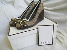 Womens COACH 'Issy' Brown Signature Wedge Platform Horsebit Toe Shoes SIZE 7 M