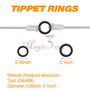 """50pcs Stainless Steel Fly Fishing Tippet Ring Solid Lightweight Trout 0.08"""" 0.1"""""""
