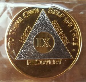 Gold Silver Bi Plate 9 Year Alcoholics Anonymous AA Medallions AA chips AA coins