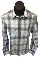 Esprit Fusca Bay Mens Western Campdraft Brass Snap LS Blue/Grey Shirt Sz L