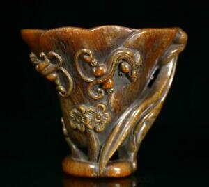 Old Chinese Carved Ox Horn Cup With Plum Blossom BW976