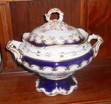 "Large Antique English 1830-1850s Hand Painted Porcelain Soup Tureen 13"""