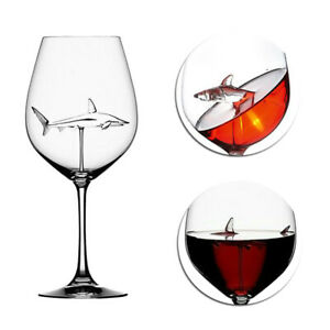 1/2/3PC Red Wine Glass Shark Goblet Whiskey Flutes Crystal Dinner Christmas