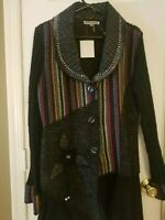 NWT Liquid by Sioni Women's L Cardigan Embellished Embroidered Unique Jacket
