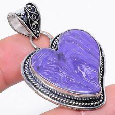"""Silver Jewelry Pendant 1.9"""" Rp35 Heart - Charoite Gemstone Handmade Ethnic"""