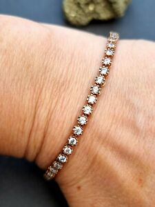 Rose gold plated 925 sterling silver clear stone tennis style bracelet