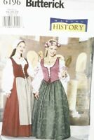 BUTTERICK B6196 Sewing Pattern MISSES MEDIEVAL DRESS COSTUME Sz 18 20 22 NEW