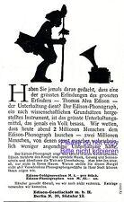 Edison Phonograph Reklame 1907 Thomas Alva Grammophon Plattenspieler Werbung +