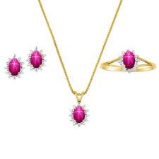 Diamond & Star Ruby Set - Ring, Earring & Pendant Necklace 14K Yellow or Sterli