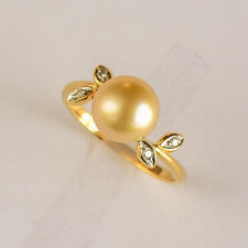 GOLDEN PEARL RING 8.6mm CULTURED PEARL GENUINE DIAMONDS REAL 9K GOLD SIZE O NEW