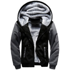 Men Hoodies Jacket Winter Warm Thick Fleece Lined Zipper Coat Parka Outwear Tops