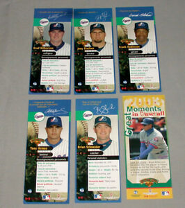 Official 2003-04 Montreal Expos Lot of 6 Souvenir Baseball Bookmarks