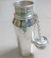 Silver WATER bottle, 97% pure Sterling Silver handmade with hammering home decor