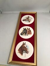 Genuine Staffordshire Ceramics framed Horse plaques   By Harleigh China Co