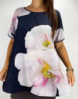 BEME Navy Blue Pink Photo Print Floral Short Sleeve Top Plus Size AU 18 Boho