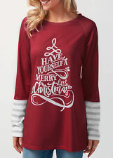 Womens Christmas Splicing Tops Long Sleeve Pullover Casual Loose Blouse T-shirt