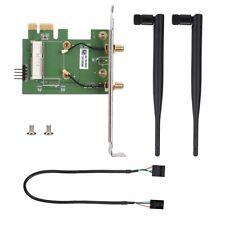 Wireless WiFi Adapter Card Mini PCI-EX1 to PCI-E Desktop w/ 2 Antennas