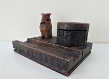 Antique 1920's Carved Wood Black Forest Owl Glass Eyes Desk Inkwell Pen Rest