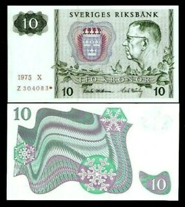 SWEDEN 10 KRONOR P52 1975 or 1976 1 * Replacement GUSTAF VI UNC Swedish Currency