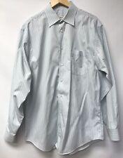Pronto Uomo Mens Size 16 34 35 Shirt Striped Blue White Green