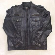 Leather Jacket Sheep Leather Slim Fit, Size Large Black Color