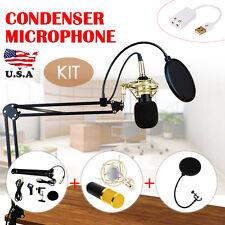 Studio Pop Filter Boom Scissor Arm Stand Shock Mount Condenser Microphone Kit