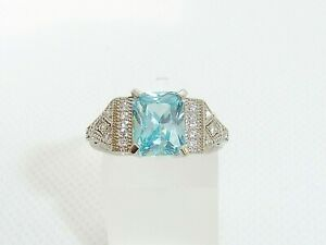 Ladies Art Deco Style 925 Sterling Solid Silver Aquamarine & White Sapphire Ring