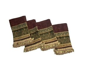 5 Croscill Discontinued Luxury Valances Curtains Chenille Fringe Deep Red & Gold