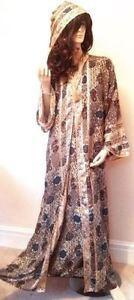 Egypt Blue Gold Moroccan Hooded Abaya Jilbab Long Dress S M L XL Kaftan Women